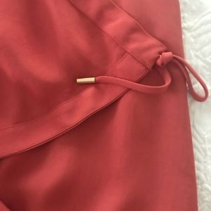 DVF Deep Coral Drape Dress Sz8